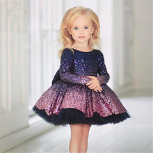 Dress Girl Birthday-Party Wedding Banquet Dance-Performance Shoulder New-Style