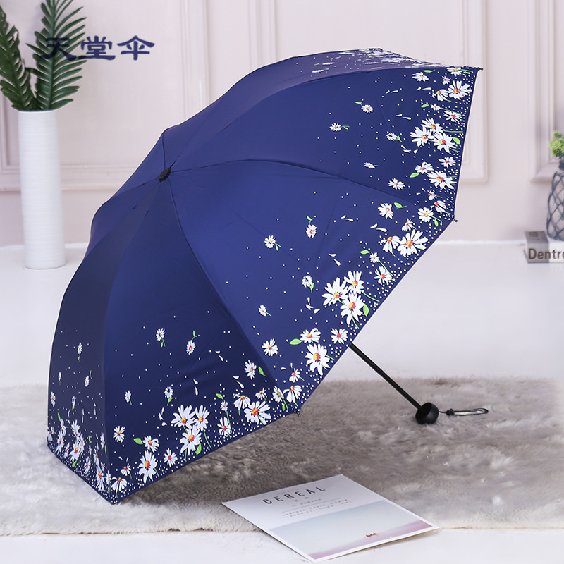 2019 Paradise Umbrella Monopoly Outdoor Vinyl Sun-resistant Parasol UV-Protection Printed Three-fold Umbrella Customizable