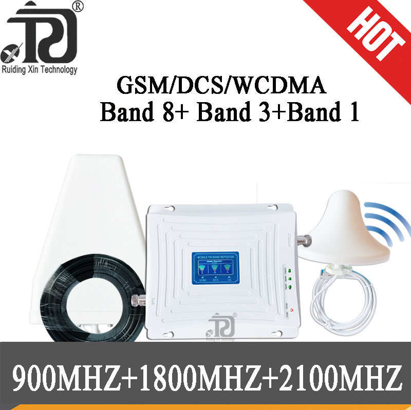 Russia Tri Band 900 1800 2100 GSM DCS WCDMA 2G 3G 4G LTE Signal Booster 900/1800/2100 Cell phone Cellular Repeater Amplifier