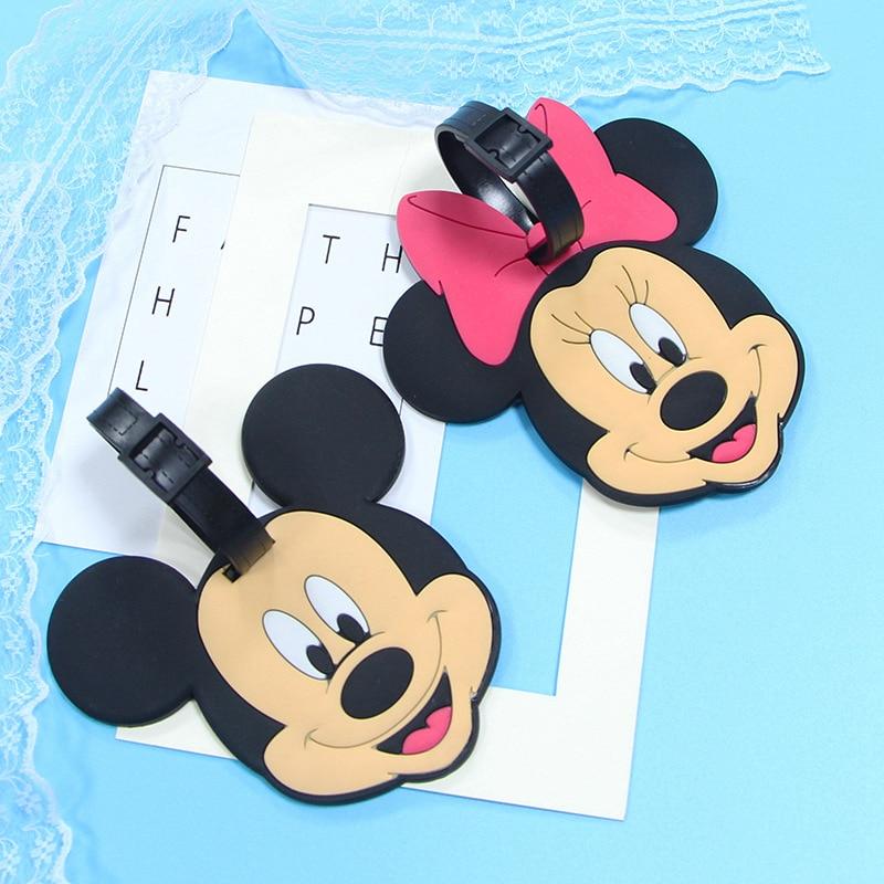 Cartoon Mickey Luggage Tags Minnie Suitcase Holder Travel Accessories ID Address Silica Gel Portable Label Baggage Boarding