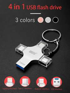 Bru Pen-Drive Otg Usb Type-C iPad Android 4in1 iPhone 64GB for 16GB 32GB 128GB 256GB
