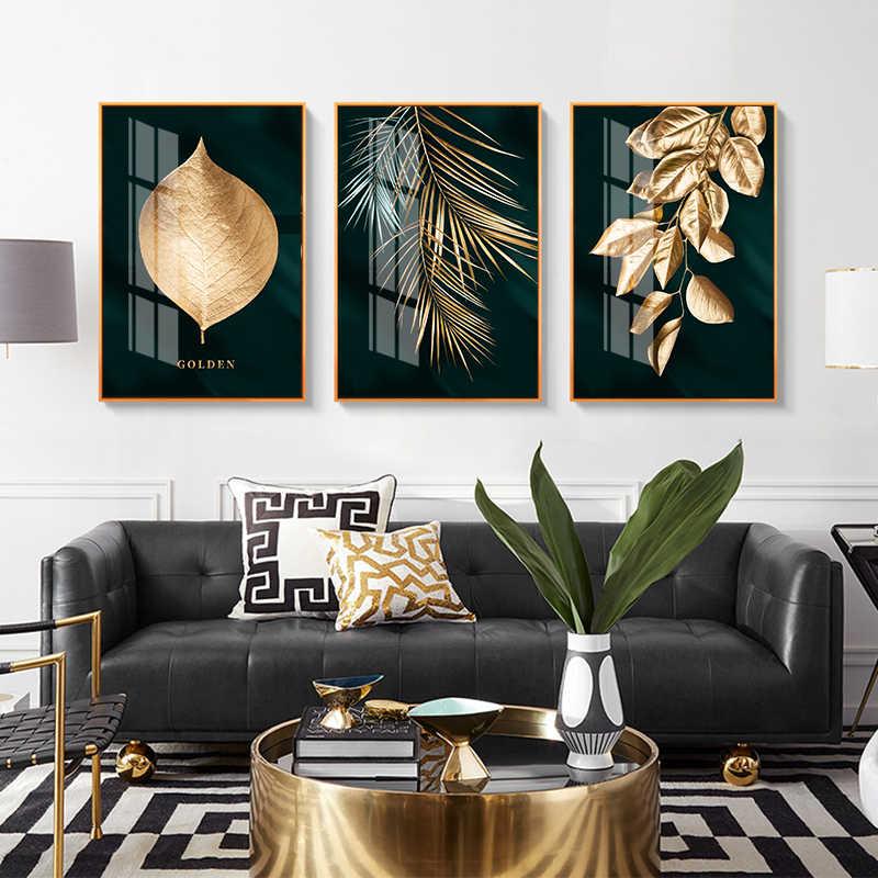 الشمال الديكور الذهبي ليف قماش اللوحة مجردة الجدار ملصق فني وطباعة الصور الزخرفية لغرفة المعيشة ديكور المنزل