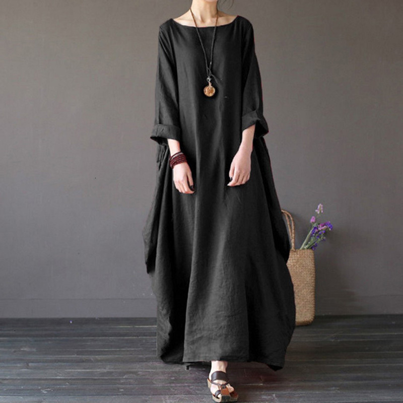 19 Summer autumn Plus Size Dresses Women 4xl 5xl Loose long vintage Dress Boho Shirt Dress Maxi Robe fashion Female Q293 5