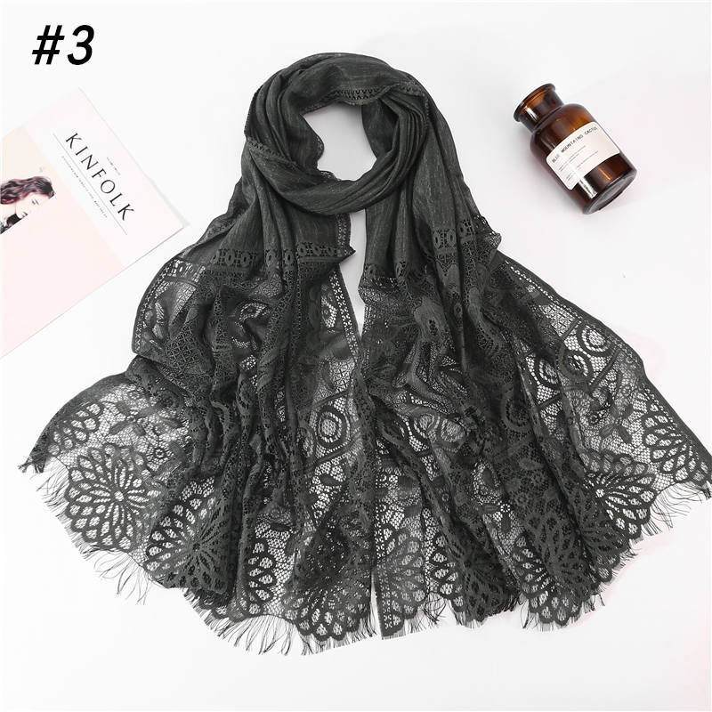 2019 New Winter White Black Red Hollow Out Flower Lace Hijab   Scarf   Shawl Women Solid Color Plain Muslim Head Hair   Scarves     Wraps