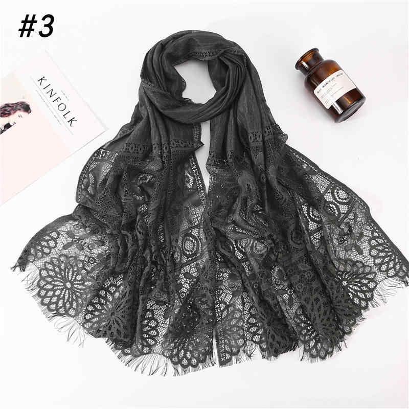 2020 Nuovo Inverno Bianco Nero Rosso Scava Fuori Il Fiore Del Merletto Hijab Dello Scialle Della Sciarpa Delle Donne di Colore Solido Pianura Musulmano Testa di Capelli sciarpe Wraps