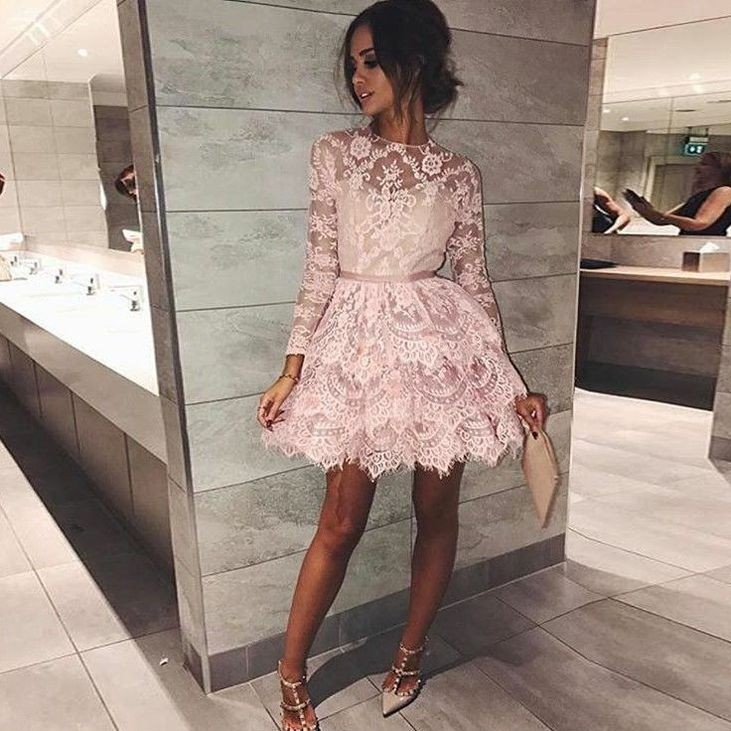 Sexy Elegant Women Long Sleeves Prom Evening Dresses 2019 Pink Lace Formal Party Gala Dress Short Cocktail Dresses