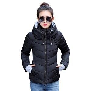 Image 1 - 2019 inverno jaqueta feminina plus size das mulheres parkas engrossar outerwear sólido casacos com capuz curto feminino fino algodão acolchoado básico topos