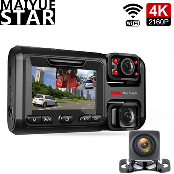 4K 2160P 3 channel 360°WIFI camera Sony front and rear dual lens HD night vision car DVR video recorder with rear view camera