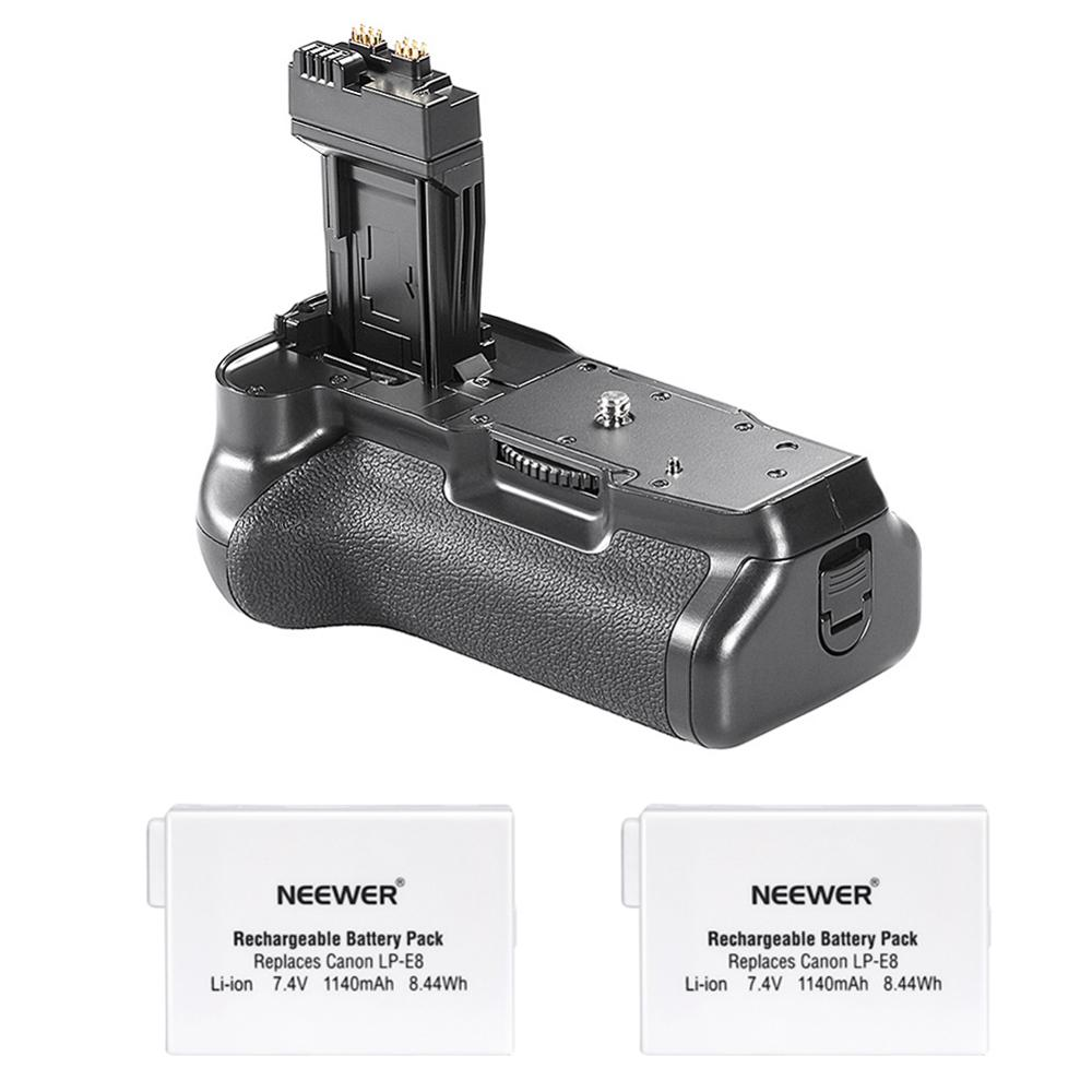 Neewer poignée de batterie pour Canon EOS 550D/600D/650D/700D rebelle T2i/T3i/T4i/T5i caméra + 2 pièces LP-E8 Batteries