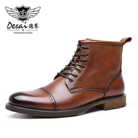 DESAI Mens Boots Men's Formal Dress Genuine Leather Shoes Business Casual Three Joint High Top Martin Breathable Carved