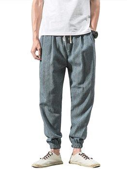 Nueva llegada, pantalones de algodón de Color puro para hombre, transpirables, informales, elásticos, con bolsillos