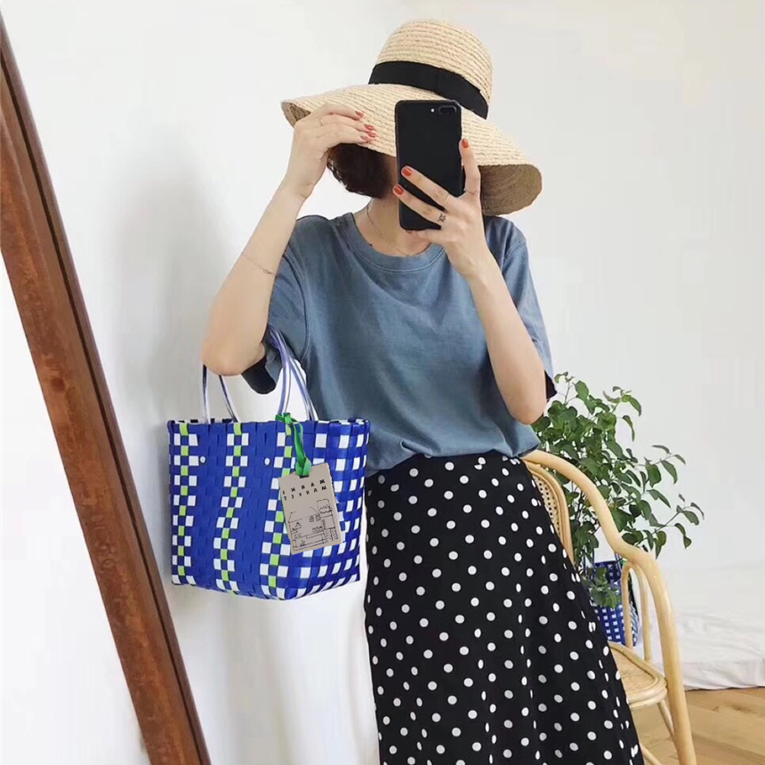 Straw-Basket Knitted-Bags Beach-Bag Handmade Charity-Version New-Designed Women Luxury