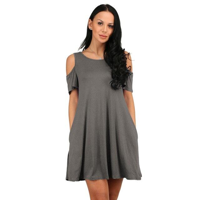 2021 new women's holiday dress European and American summer wish burst loose-shoulder short-sleeved pocket dress 5