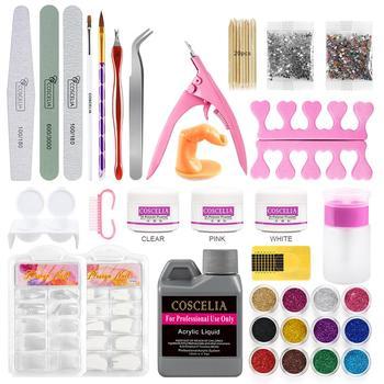 78pcs Acrylic Powder Set For Manicure With Acrylic Liquid Glitter For Nail Art Crystal Acrylic Set Brush Nail Tips Tools Kit