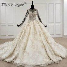 Koronkowe suknie balowe suknie ślubne dla kobiet arabia saudyjska Vestido De Noiva elegancka księżniczka długie rękawy świecące suknie ślubne 2020