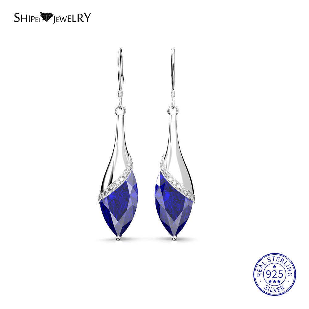Shiepei 2019 כחול ספיר עגילים לנשים 100% 925 סטרלינג כסף טבעי ספיר זרוק עגילי חתונה מתנת יום הולדת