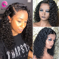 Malaysian Jerry Curly Lace Front Human Hair Wig Pre Plucked Eva 360 Lace Frontal Wigs Short Bob Curly Human Hair Wigs For Women