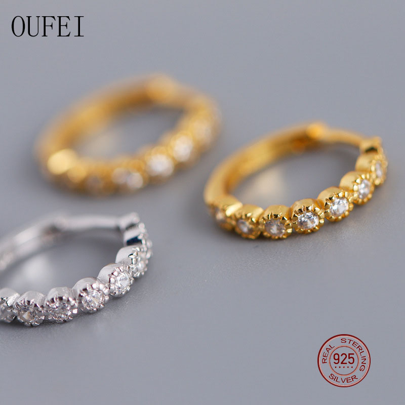 OUFEI Hoop Earrings For Women 100%925 Sterling Silver Simple Earrings Korea Fashion Fine Jewelry Earrings