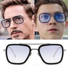 luxury Fashion Avengers Tony Stark Flight Style Man Sunglasses Men Square Brand Design Sun Glasses Oculos Retro male iron 3