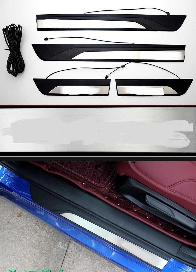 4 двери из нержавеющей стали накладки для порогов автомобиля накладка на задний бампер с светодиодный синий свет для Honda Civic 2016-2019