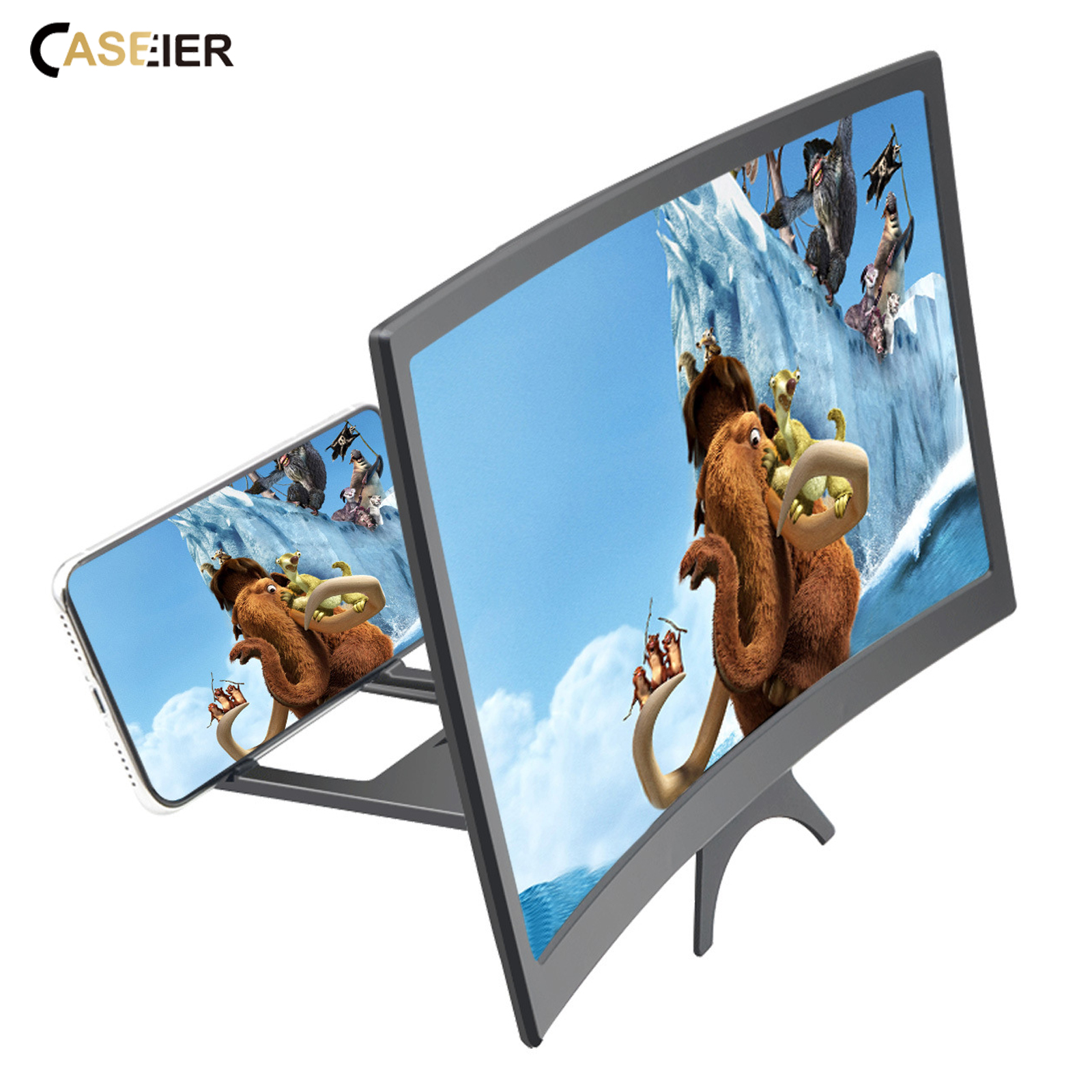 12 inch Curved Phone Screen Amplifier HD 3D Video Mobile Phone Magnifying Glass Stand Bracket Foldable Phone Holder Projector 5