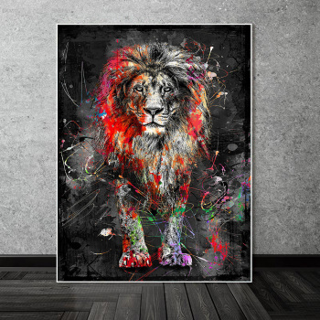 Abstract Graffiti Art Lion Painting Printed on Canvas 2