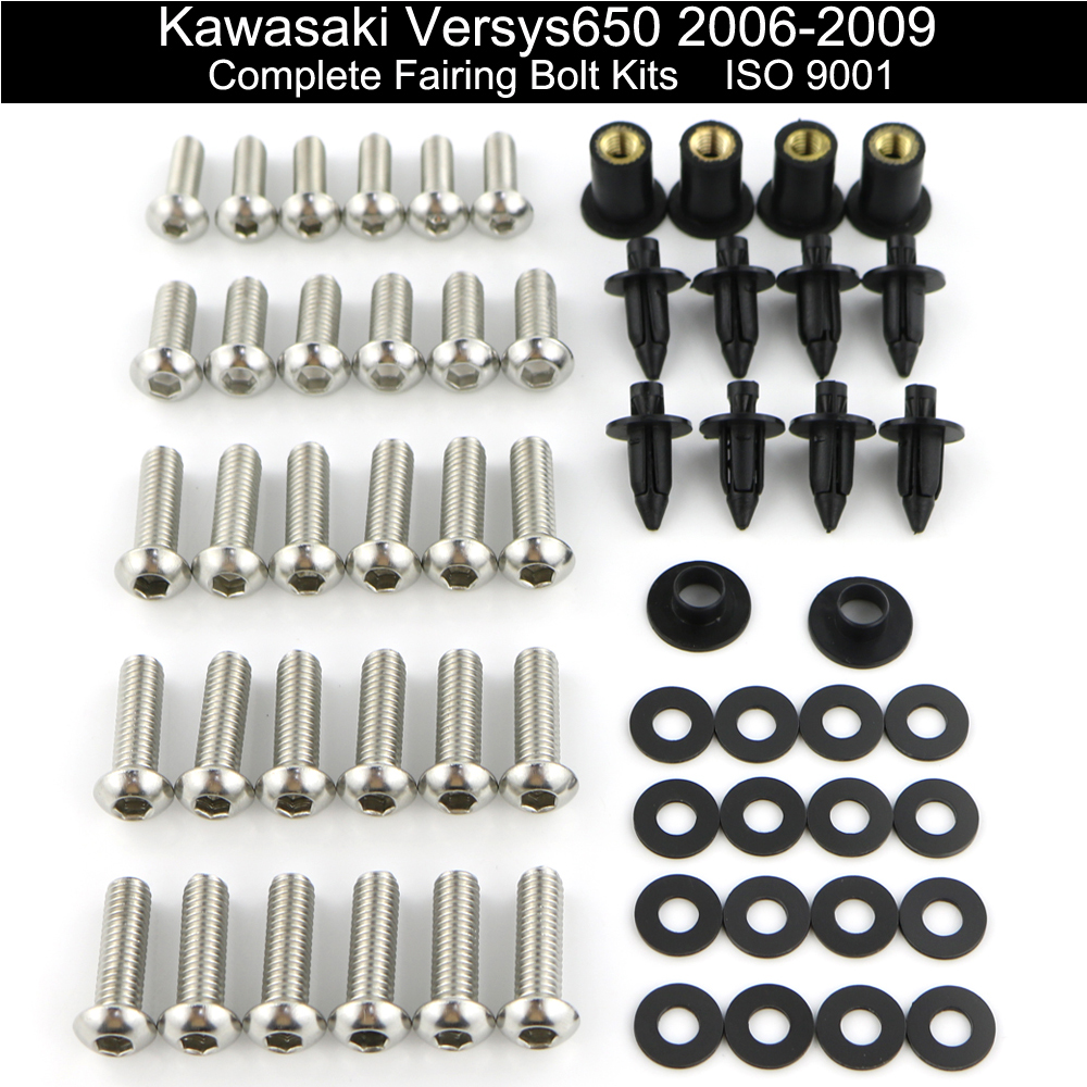 For Kawasaki Versys 650 2006 2007 2008 2009 Motorcycle Fairing Bolts Kit Complete Full Fairing Clips Covering Bolts Stainless