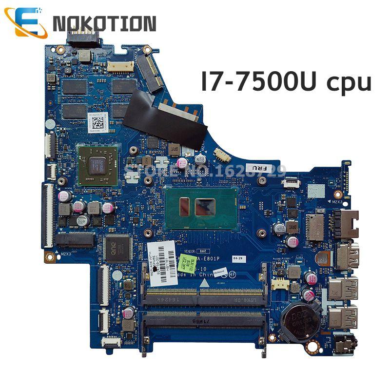 NOKOTION 924759-601 924759-001 For HP Pavilion 15-BS Laptop Motherboard CSL50 CSL52 LA-E801P I7-7500U CPU 4GB Gpu