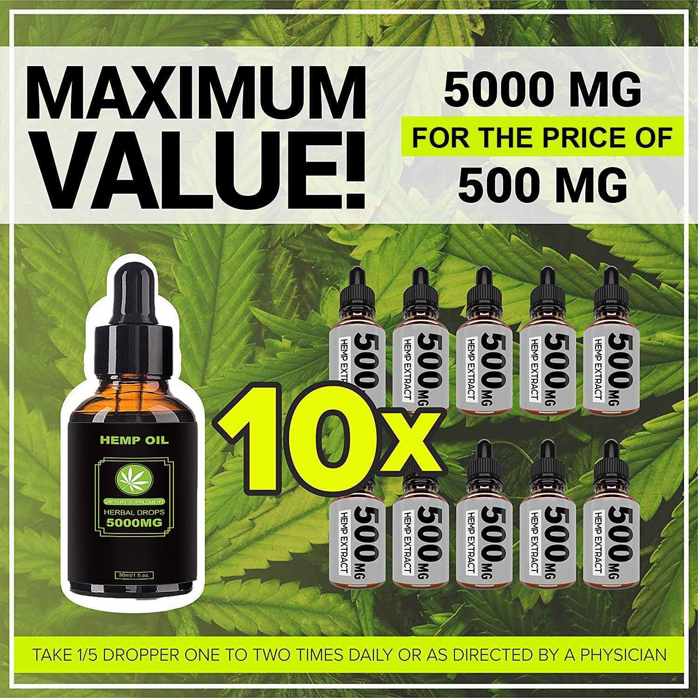 5000mg CBD Oil Organic Hemp Seeds Oil CBD Premium Plant Herbs Extract For Pain Relief, Stress, Keto, Anxiety, Sleeping Relax Oil