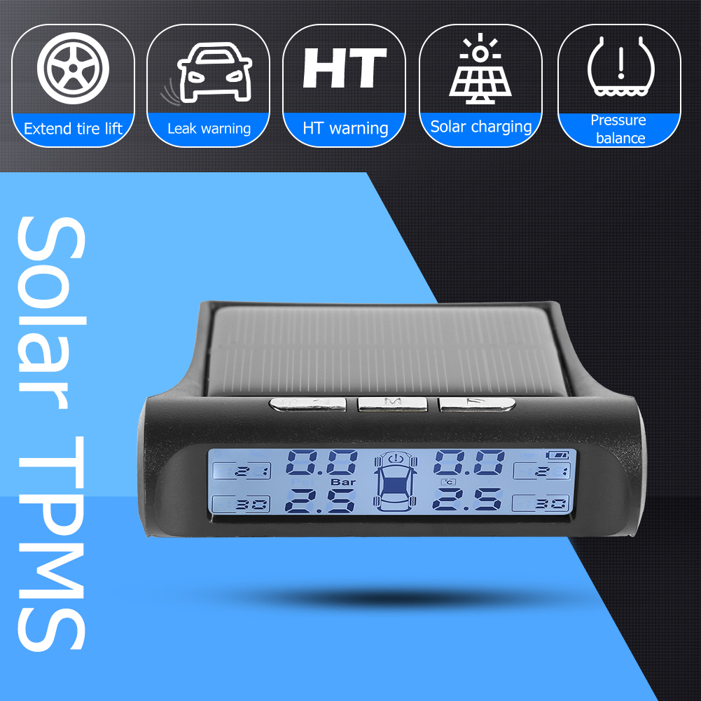 Smart Car TPMS Tyre Pressure Monitoring System Solar Digital LCD Display Auto Security Alarm Tyre Pressure 4 internal sensors