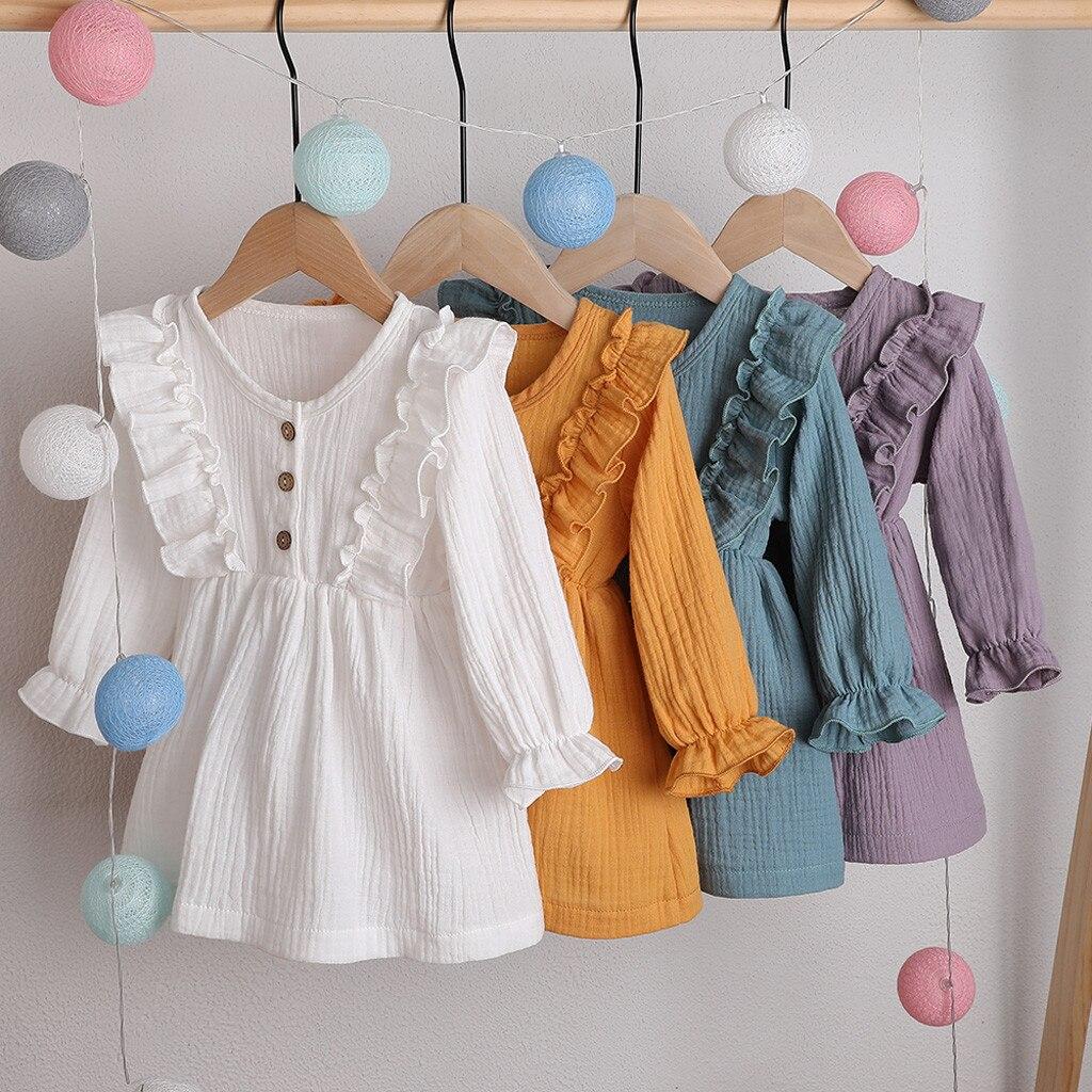 Autumn Fashion Baby Girl Dress Solid Linen Button Ruffle Princess Party Dress Clothes Free Ship Vestido Bebe فساتين اطفال Z4