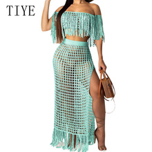 TIYE Sexy Hollow Out See Through Grid Tassel Crochet Knitting Dress Women Summer Elegant Off Shoulder Loose Beach Party Dresses