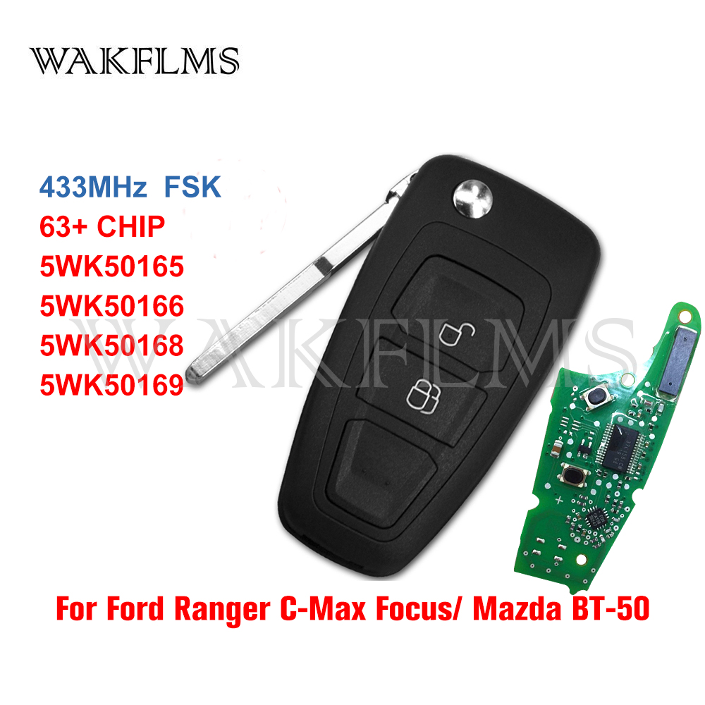 5WK50165 флип ключ 2 кнопки 434 МГц FSK 4D63 чип для Ford Ranger Focus Mondeo 2011 2012 2013 2014 2015 5WK50166|Ключ от авто|   | АлиЭкспресс