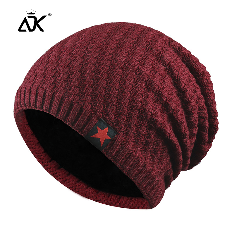 Knitted Beanie Star Decal Ribbed Long Cap Fashion Gorros Breathable Hats Bonnet High Knitted Stretch Warm Hats For Winter