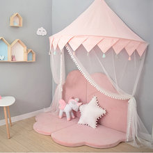 Nordic Kids Play Tent Pink Princess Castle Play House Tipi Enfant Indoor Baby Girls Crib Canopy Net Bed Tent Children Room Decor(China)