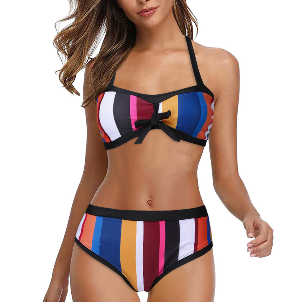 Boutique Womens Striped Halter Neck Bikini Ladies Swimming Costume Beachwear Set