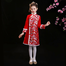 Winter Qipao New-Year-Clothes Girls Chinese Children Women Red Tang Suit Daily-Wear Woolen