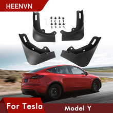Heenvn 4 PIÈCES Pour Tesla Model y Garde-Boue Garde-Boue 2021 avant Roue Arrière Garde-Boue garde-Boue en fibre de carbone ABS ACCESSOIRES