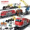 Tren ferroviario RC Technic para niños, bloques de construcción, estación de Control remoto, tren, DIY, juguetes educativos, regalos