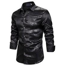 OEAK Шелковый Блестящий ночной клуб для мужчин роскошное платье с блестками рубашка с длинными рукавами Мужская сценическая танцевальная одежда для ночного клуба Выпускной комплект