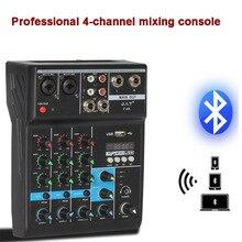 Misturador de áudio portátil do console de mistura 4 canais de bluetooth com efeito reverb para o karaoke da fase de casa usb karaoke ktv