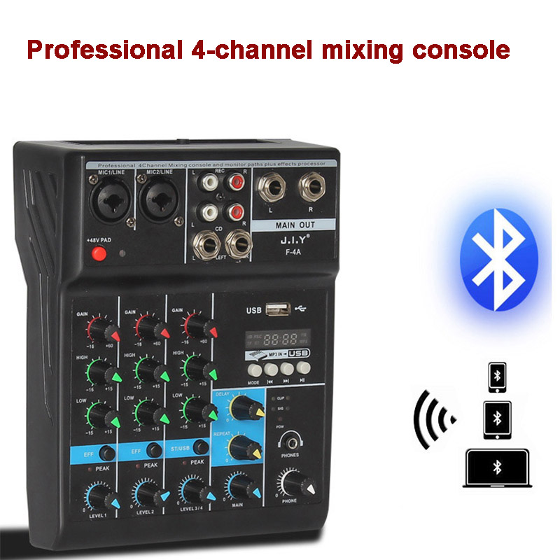 Portable bluetooth Mixing Console 4 Channel Audio Mixer with Reverb Effect For Home Karaoke USB Stage Karaoke KTV|DJ Equipment|   - AliExpress