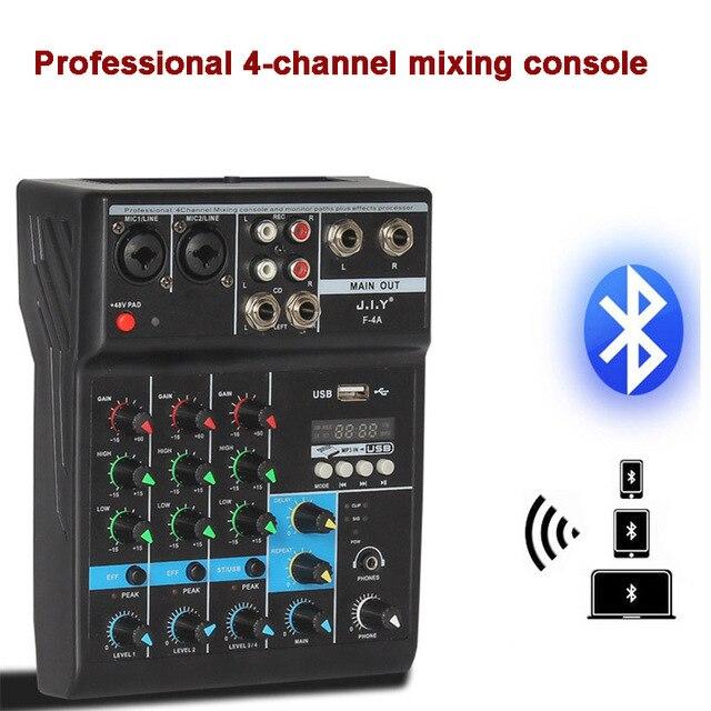 נייד bluetooth ערבוב קונסולת 4 ערוץ אודיו מיקסר עם Reverb אפקט לבית קריוקי USB שלב קריוקי KTV