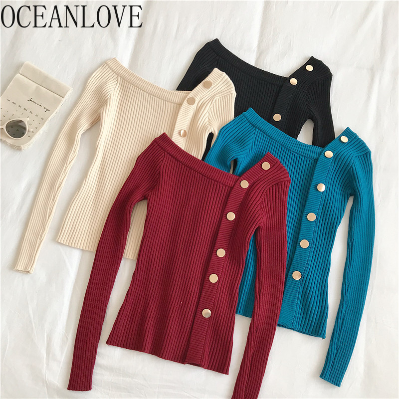 OCEANLOVE Pullovers 2020 Spring Autumn Solid Button Skew Collar Women Sweaters Stretch Slim Casual All Match Pull Femme 13632