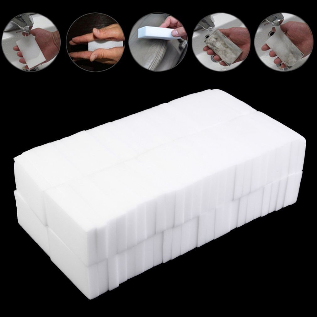 100pcs Extra Thick Multi-Functional Magic Sponge Eraser Cleaner Universal Cleaner Kitchen Bathroom Cleaning Tools White