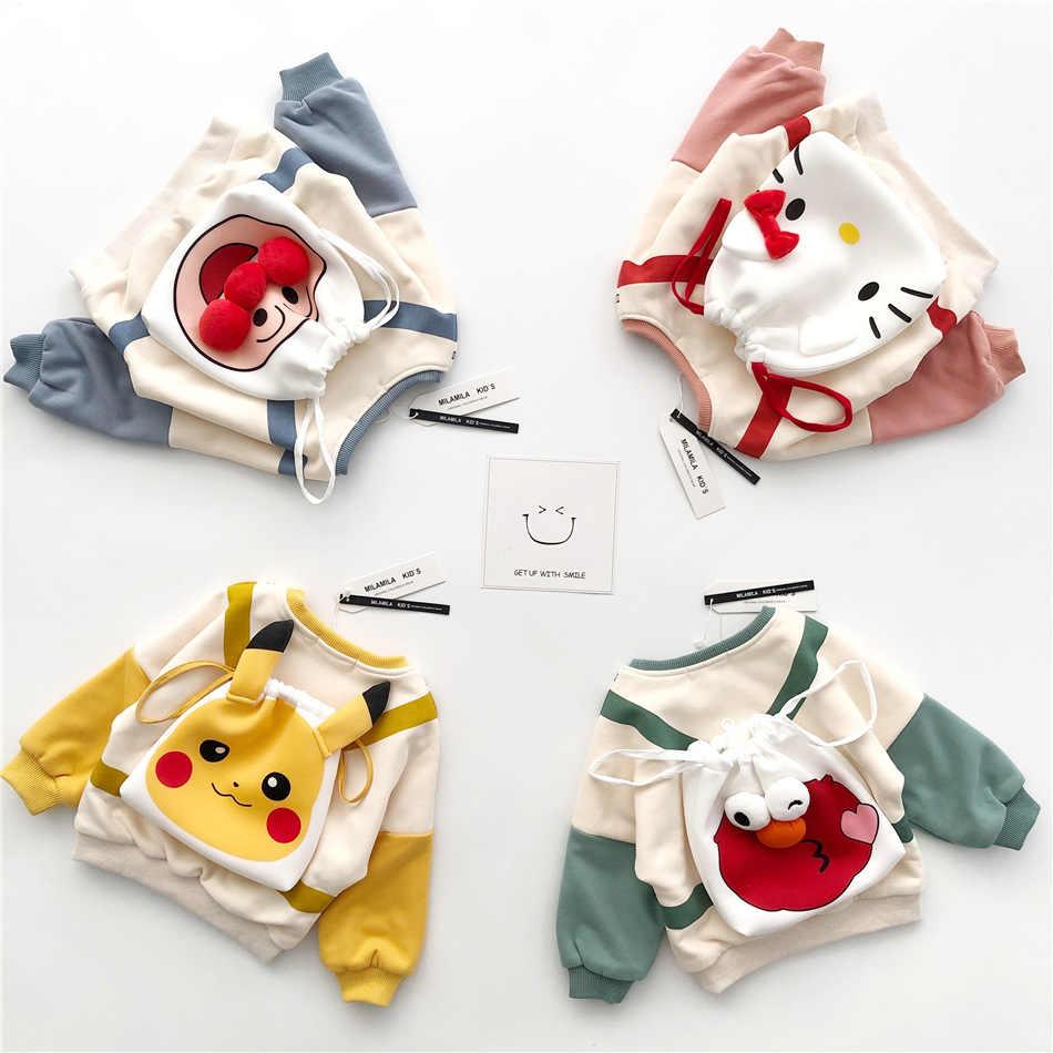 Tonytaobaby 가을, 겨울 새 스타일 아기 소년과 소녀 귀여운 4 색 배낭 만화 어린이 운동복