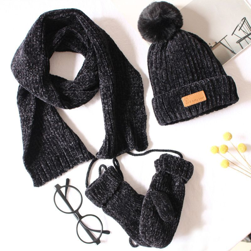Toddler Boys Girls Baby Pompom Beanie Hat Scarf Gloves 3 Pieces Set Ribbed Knitted Cuffed Cap Kids Winter Outdoor Sport Warmer