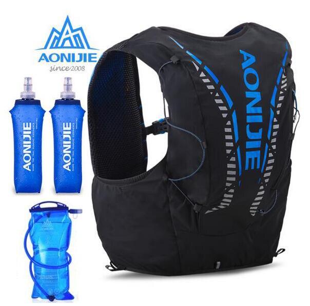 AONIJIE современный кожаный рюкзак для бега 12 л, сумка, жилет, мягкий пузырь для воды, колба для пешего туризма, тропы, велоспорта, марафона