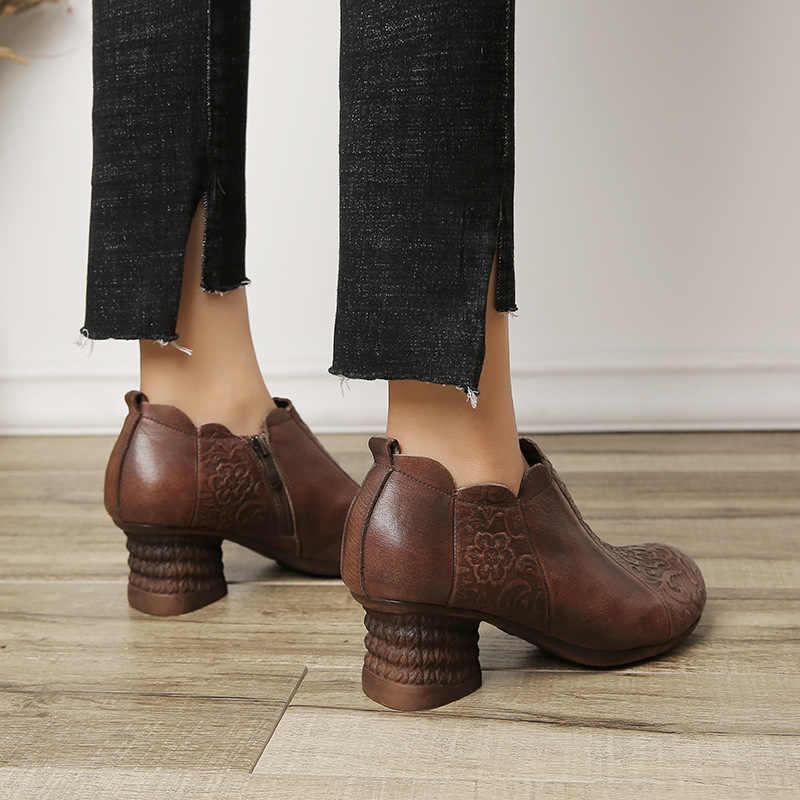 Kadın yarım çizmeler Deri Yüksek Topuklu Ayakkabılar Kadınlar Sonbahar Nakış Hakiki Deri Pompaları Bayanlar El Yapımı Martin Çizmeler Retro 2019