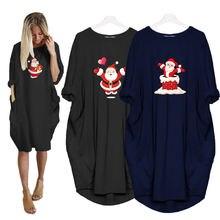 Рождественское платье с карманами Санта Клаус kawaii женские